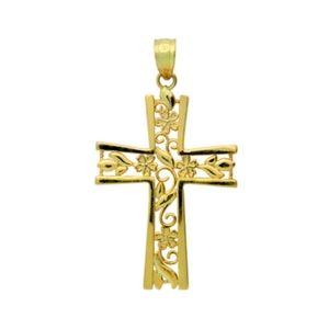 14K Yellow Gold Religious Themed Cross with Spade Tip Edges Small Charm Pendant